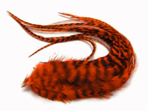6 Pieces - Orange Thick Long Grizzly Rooster Hair Extension Feathers