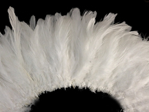 4 Inch Strip - Natural White Strung Rooster Schlappen Feathers