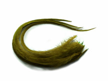 6 Pieces - Solid Moss Green Thick Long Rooster Hair Extension Feathers