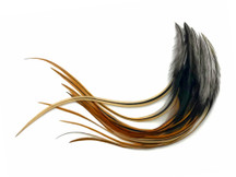 1 Dozen - Medium Furnace Rooster Saddle Whiting Hair Extension Feathers