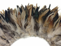 4 Inch Strip - Natural Cream And Black Strung Rooster Schlappen Feathers