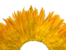 """4 Inch Strip – 4-6"""" Dyed Golden Yellow Strung Chinese Rooster Saddle Feathers"""
