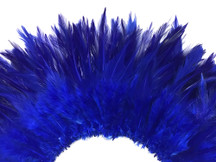 """4 Inch Strip – 4-6"""" Dyed Royal Blue Strung Chinese Rooster Saddle Feathers"""