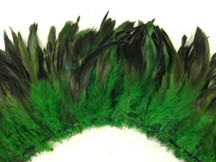 4 Inch Strip - Kelly Green Dyed Half Bronze Strung Rooster Schlappen Feathers