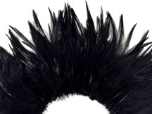 """4 Inch Strip - 4-6"""" Black Strung Chinese Rooster Saddle Feathers"""