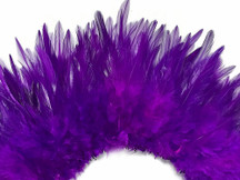 """4 Inch Strip – 4-6"""" Dyed Purple Strung Chinese Rooster Saddle Feathers"""