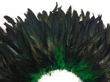 2.5  Inch Strip -  Green Half Bronze Natural Dyed Coque Tail Strung Feathers