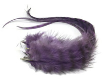 6 Pieces - Plum Grizzly Thick Long Rooster Hair Extension Feathers