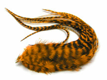 6 Pieces - Golden Yellow Thick Long Grizzly Whiting Farm Rooster Hair Extension Feathers