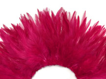 """4 Inch Strip – 4-6"""" Dyed Claret Strung Chinese Rooster Saddle Feathers"""