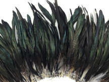 2.5  Inch Strip -  Natural Black Half Bronze Coque Tail Strung Feathers