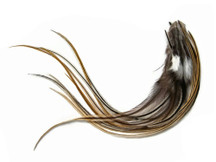 1 Dozen - Medium Golden Badger Rooster Saddle Whiting Hair Extension Feathers