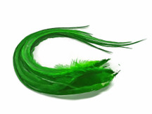 6 Pieces - Solid Kelly Green Thick Long Rooster Hair Extension Feathers