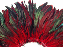 2.5  Inch Strip -  Red Half Bronze Natural Dyed Coque Tail Strung Feathers