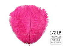 "1/2 Lb - 9-13"" Hot Pink Ostrich Drab Wholesale Feathers (Bulk)"