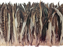 2.5  Inch Strip -  Natural Brown Chinchilla Mix Coque Tail Strung Feathers, 14-16""