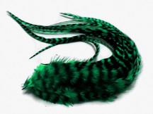 6 Pieces - Peacock Green Thick Long Grizzly Rooster Hair Extension Feathers