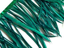 1 Yard - Peacock Green Goose Biots Stripped Wing Wholesale Feather Trim