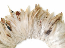 4 Inch Strip - Natural Beige Strung Rooster Schlappen Feathers