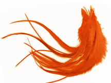 1 Dozen - Medium Solid Orange Rooster Saddle Whiting Hair Extension Feathers