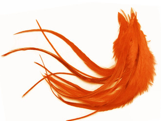Medium Red Grizzly Rooster Hair Extension Feathers 1 Dozen
