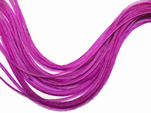 6 Pieces - Xl Solid Magenta Thin Rooster Hair Extension Feathers