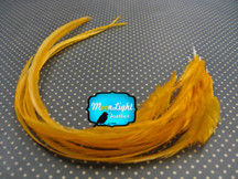 6 Pieces - Xl Solid Tangerine Thick Hair Extension Rooster Feathers