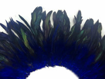 4 Inch Strip - Navy Dyed Half Bronze Strung Rooster Schlappen Feathers