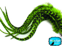 6 Pieces - XL Lime Green Grizzly Thick Extra Long Rooster Hair Extension Feathers
