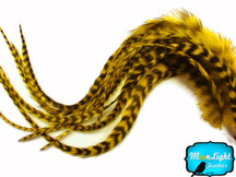 6 Pieces - Xl Yellow Grizzly Thick Rooster Hair Extension Feathers