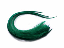 6 Pieces - Solid Peacock Green Thick Long Rooster Hair Extension Feathers