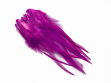 1 Dozen - Medium Solid Magenta Rooster Saddle Whiting Hair Extension Feathers
