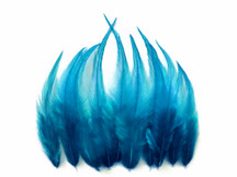1 Dozen - Short Solid Turquoise Blue Whiting Farm Rooster Saddle Hair Extension Feathers