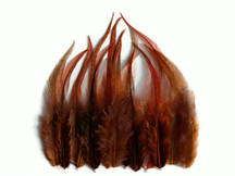 1 Dozen - Short Solid Brown Whiting Farm Rooster Hair Extension Feathers