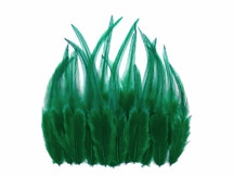 1 Dozen - Short Solid Peacock Green Whiting Farm Rooster Saddle Hair Extension Feathers