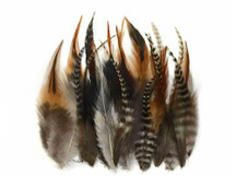 1 Dozen - Short Natural Grizzly Mix Whiting Farm Rooster Saddle Hair Extension Feathers