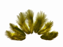 1 Dozen - Solid Moss Green Mini Rooster Chickabou Fluff Whiting Hair Feathers
