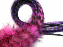 4 Pieces - Pinkle Blendz Thick Long Rooster Hair Extension Feathers