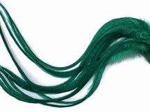 6 Pieces - XL Solid Peacock Green Thick Extra Long Rooster Hair Extension Feathers