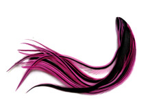 1 Dozen - Medium Hot Pink Badger Rooster Saddle Whiting Hair Extension Feathers