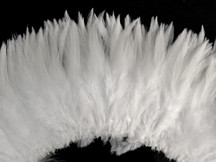 """4 Inch Strip - 4-6"""" Natural White Strung Chinese Rooster Saddle Feathers"""