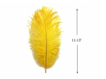 "10 Pieces - 11-13"" Yellow Bleached & Dyed Ostrich Drabs Body Feathers"