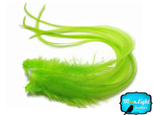 6 Pieces - XL Solid Lime Grizzly Thick Rooster Hair Extension Feathers
