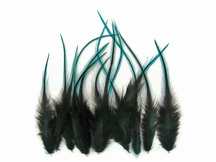 1 Dozen - Short Blue Badger Whiting Farm Rooster Saddle Hair Extension Feathers