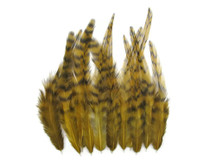1 Dozen - Short Golden Olive Grizzly Rooster Hair Extension Feathers