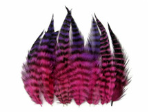 1 Dozen - Short Pinkle Grizzly Whiting Farm Rooster Saddle Hair Extension Feather Blendz