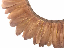 1 Yard - Light Brown Goose Pallet Parried Dyed Feather Trim