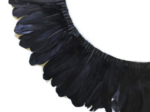 1 Yard - Black Goose Pallet Parried Dyed Feather Trim