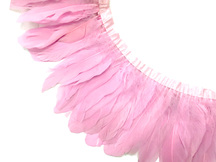 1 Yard - Light Pink Goose Pallet Parried Dyed Feather Trim