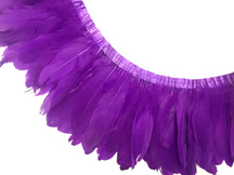 1 Yard - Purple Goose Pallet Parried Dyed Feather Trim
